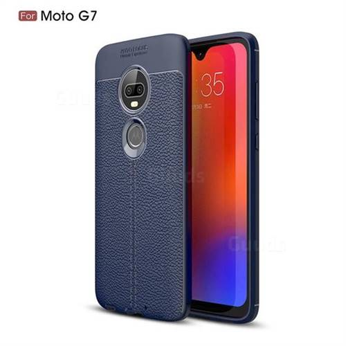 Luxury Auto Focus Litchi Texture Silicone TPU Back Cover for Motorola Moto G7 / G7 Plus - Dark Blue