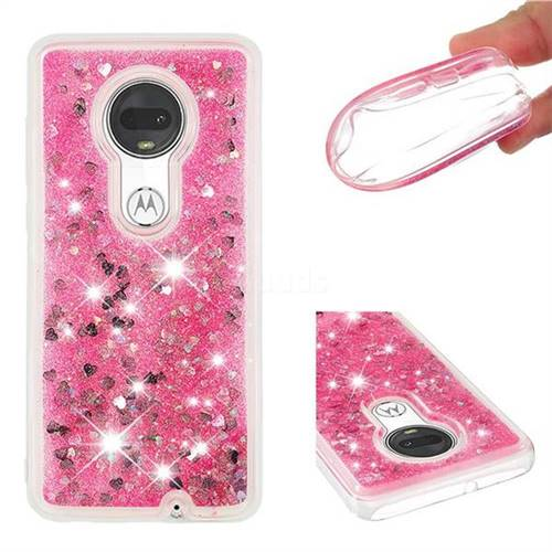 Dynamic Liquid Glitter Quicksand Sequins TPU Phone Case for Motorola Moto G7 / G7 Plus - Rose