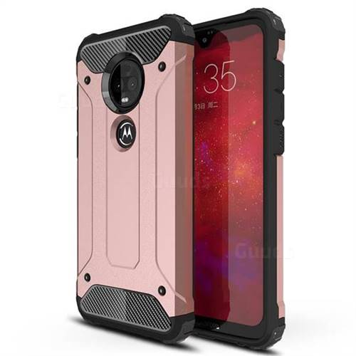 King Kong Armor Premium Shockproof Dual Layer Rugged Hard Cover for Motorola Moto G7 / G7 Plus - Rose Gold
