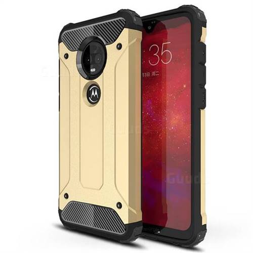 King Kong Armor Premium Shockproof Dual Layer Rugged Hard Cover for Motorola Moto G7 / G7 Plus - Champagne Gold