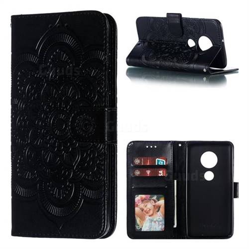Intricate Embossing Datura Solar Leather Wallet Case for Motorola Moto G7 / G7 Plus - Black