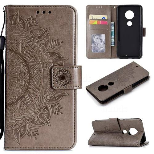 Intricate Embossing Datura Leather Wallet Case for Motorola Moto G7 / G7 Plus - Gray