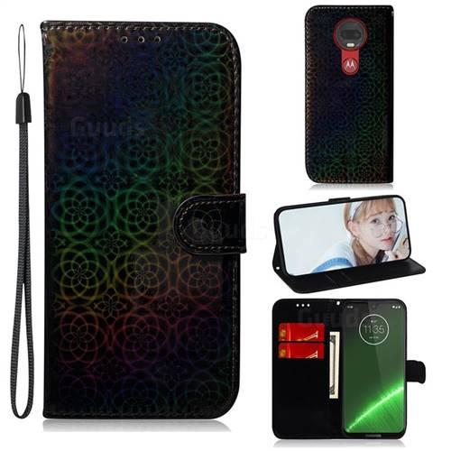 Laser Circle Shining Leather Wallet Phone Case for Motorola Moto G7 / G7 Plus - Black