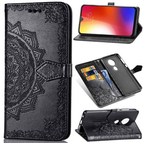 Embossing Imprint Mandala Flower Leather Wallet Case for Motorola Moto G7 / G7 Plus - Black