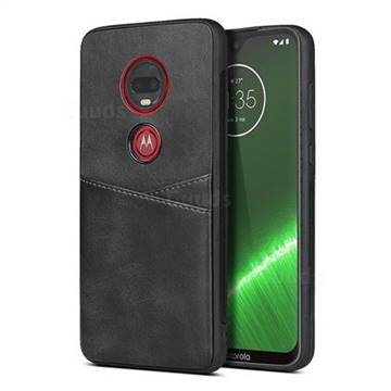 Simple Calf Card Slots Mobile Phone Back Cover for Motorola Moto G7 / G7 Plus - Black