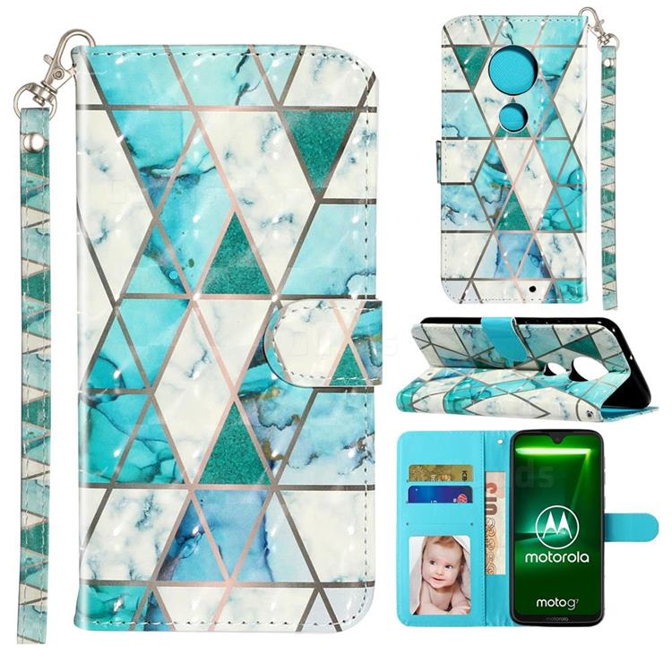 Stitching Marble 3D Leather Phone Holster Wallet Case for Motorola Moto G7 / G7 Plus
