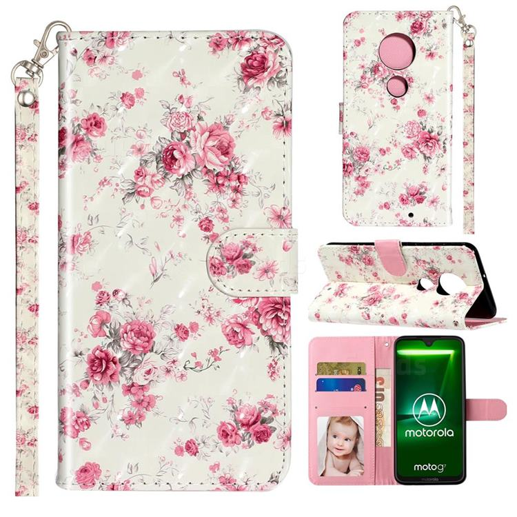 Rambler Rose Flower 3D Leather Phone Holster Wallet Case for Motorola Moto G7 / G7 Plus