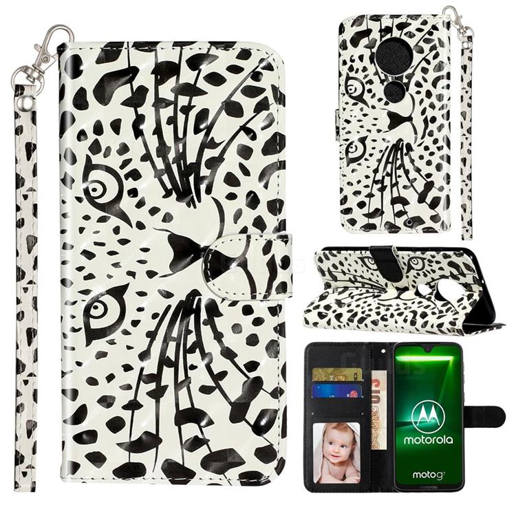 Leopard Panther 3D Leather Phone Holster Wallet Case for Motorola Moto G7 / G7 Plus
