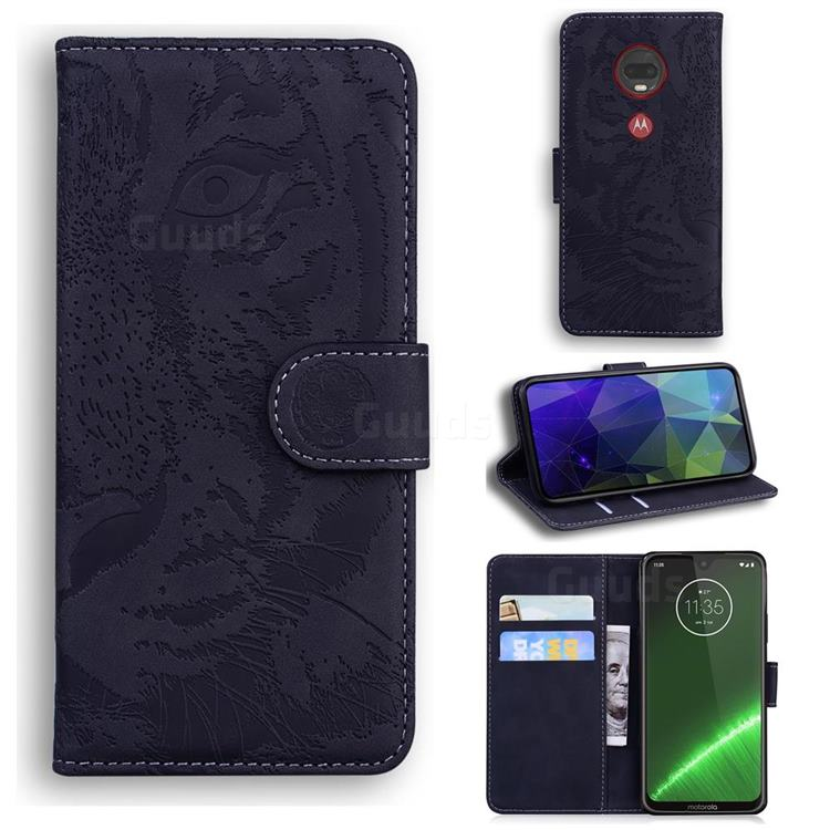 Intricate Embossing Tiger Face Leather Wallet Case for Motorola Moto G7 / G7 Plus - Black