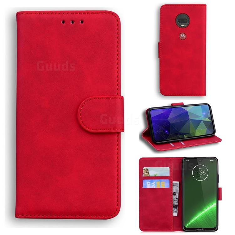 Retro Classic Skin Feel Leather Wallet Phone Case for Motorola Moto G7 / G7 Plus - Red