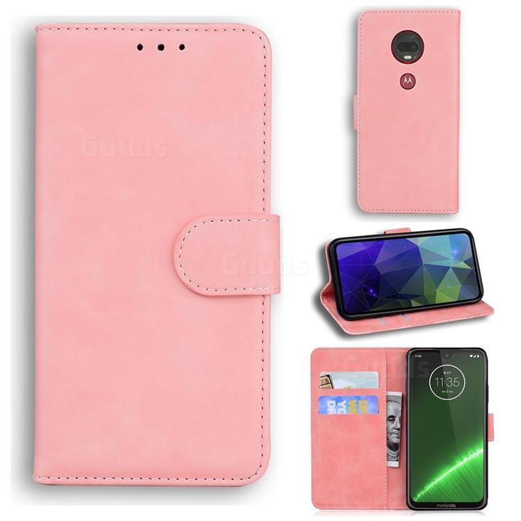 Retro Classic Skin Feel Leather Wallet Phone Case for Motorola Moto G7 / G7 Plus - Pink