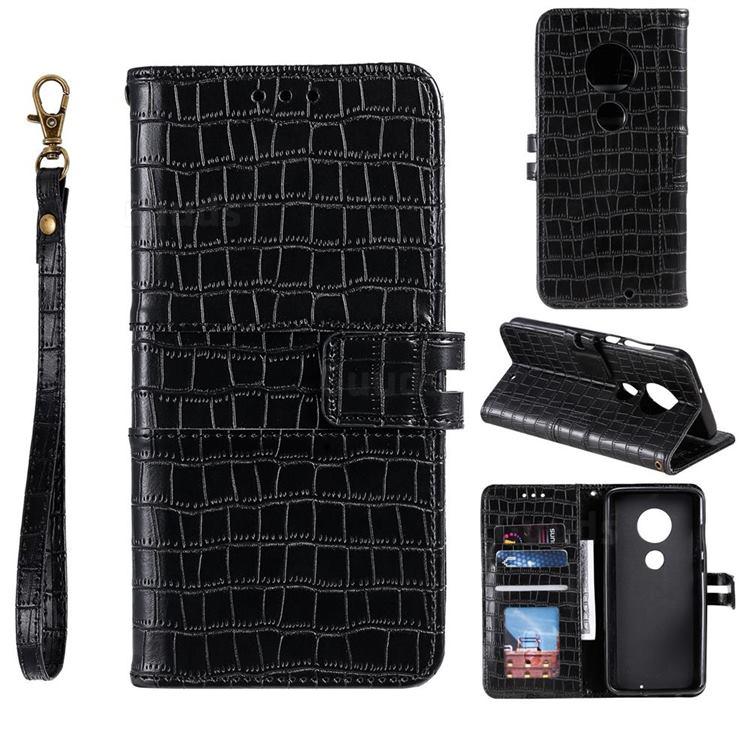 Luxury Crocodile Magnetic Leather Wallet Phone Case for Motorola Moto G7 / G7 Plus - Black