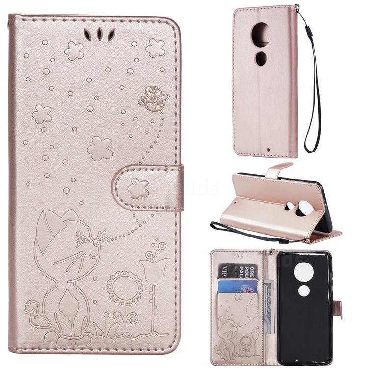 Embossing Bee and Cat Leather Wallet Case for Motorola Moto G7 / G7 Plus - Rose Gold