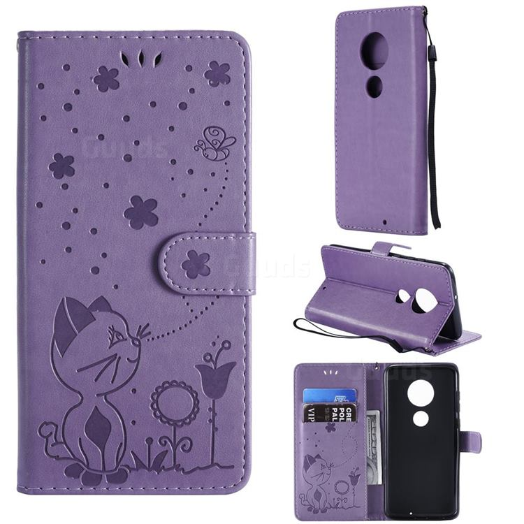 Embossing Bee and Cat Leather Wallet Case for Motorola Moto G7 / G7 Plus - Purple
