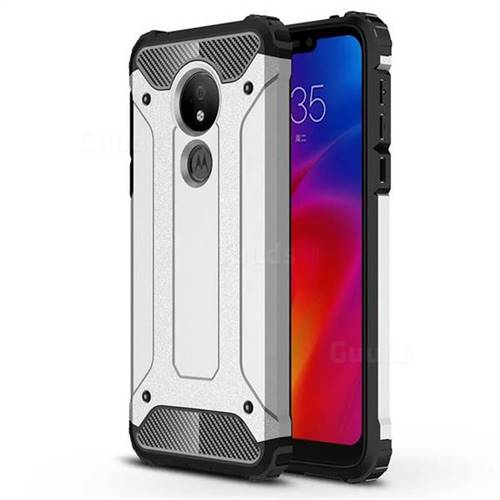 King Kong Armor Premium Shockproof Dual Layer Rugged Hard Cover for Motorola Moto G7 Power - Technology Silver