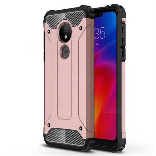 King Kong Armor Premium Shockproof Dual Layer Rugged Hard Cover for Motorola Moto G7 Power - Rose Gold