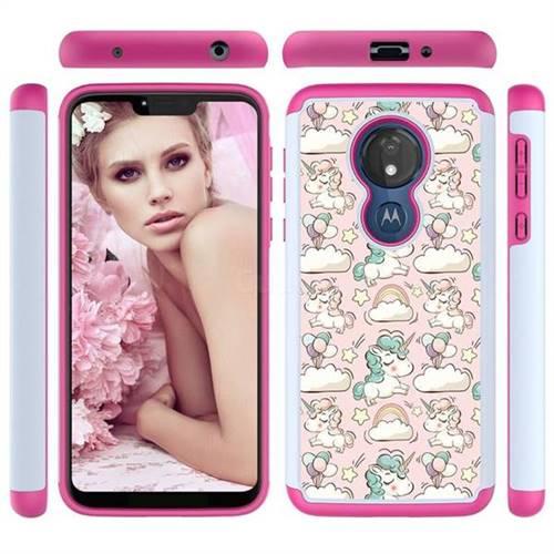 Pink Pony Shock Absorbing Hybrid Defender Rugged Phone Case Cover for Motorola Moto G7 Power