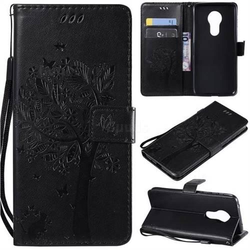Embossing Butterfly Tree Leather Wallet Case for Motorola Moto G7 Power - Black