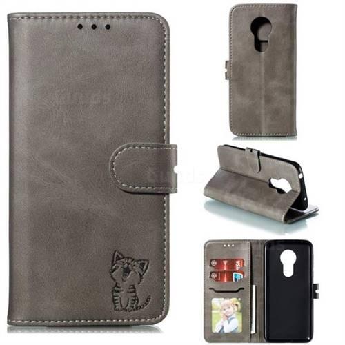 Embossing Happy Cat Leather Wallet Case for Motorola Moto G7 Power - Gray