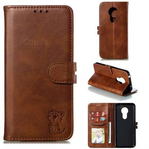 Embossing Happy Cat Leather Wallet Case for Motorola Moto G7 Power - Brown