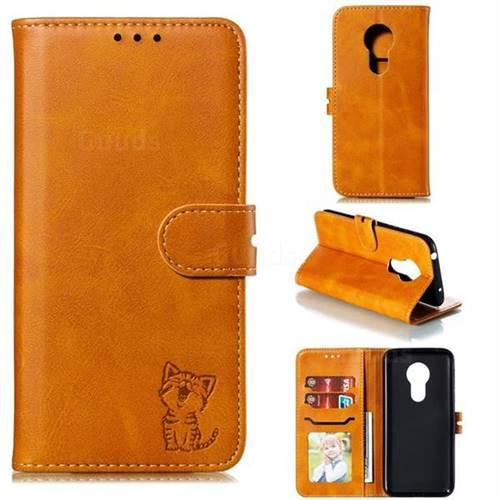 Embossing Happy Cat Leather Wallet Case for Motorola Moto G7 Power - Yellow