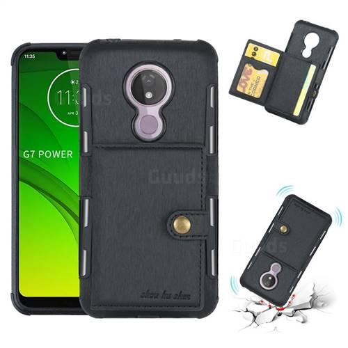 Brush Multi-function Leather Phone Case for Motorola Moto G7 Power - Black