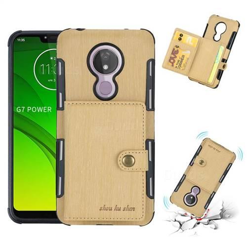 Brush Multi-function Leather Phone Case for Motorola Moto G7 Power - Golden