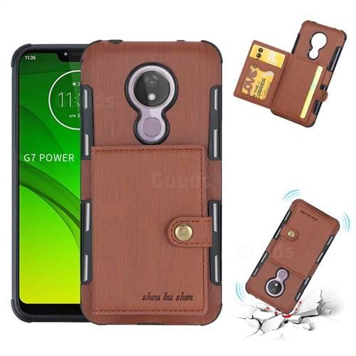 Brush Multi-function Leather Phone Case for Motorola Moto G7 Power - Brown