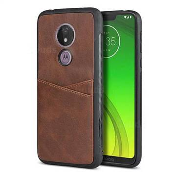 Simple Calf Card Slots Mobile Phone Back Cover for Motorola Moto G7 Power - Coffee