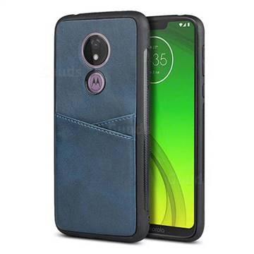 Simple Calf Card Slots Mobile Phone Back Cover for Motorola Moto G7 Power - Blue