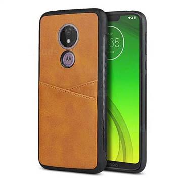Simple Calf Card Slots Mobile Phone Back Cover for Motorola Moto G7 Power - Yellow