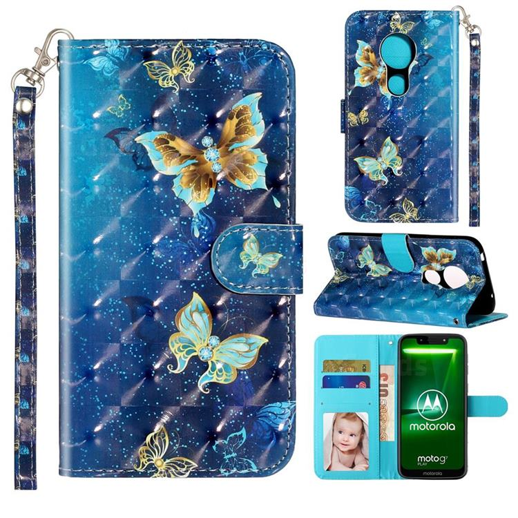 Rankine Butterfly 3D Leather Phone Holster Wallet Case for Motorola Moto G7 Power