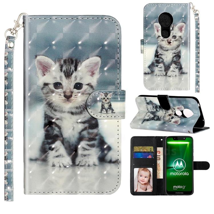 Kitten Cat 3D Leather Phone Holster Wallet Case for Motorola Moto G7 Power