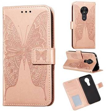 Intricate Embossing Vivid Butterfly Leather Wallet Case for Motorola Moto G7 Power - Rose Gold