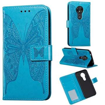 Intricate Embossing Vivid Butterfly Leather Wallet Case for Motorola Moto G7 Power - Blue
