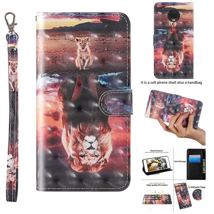 Fantasy Lion 3D Painted Leather Wallet Case for Motorola Moto G7 Power