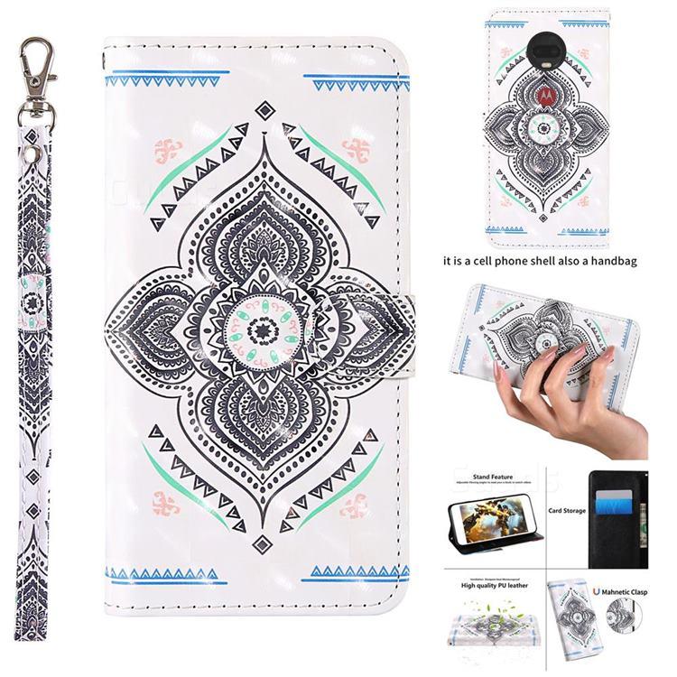Mandala Totem 3D Painted Leather Wallet Case for Motorola Moto G7 Power