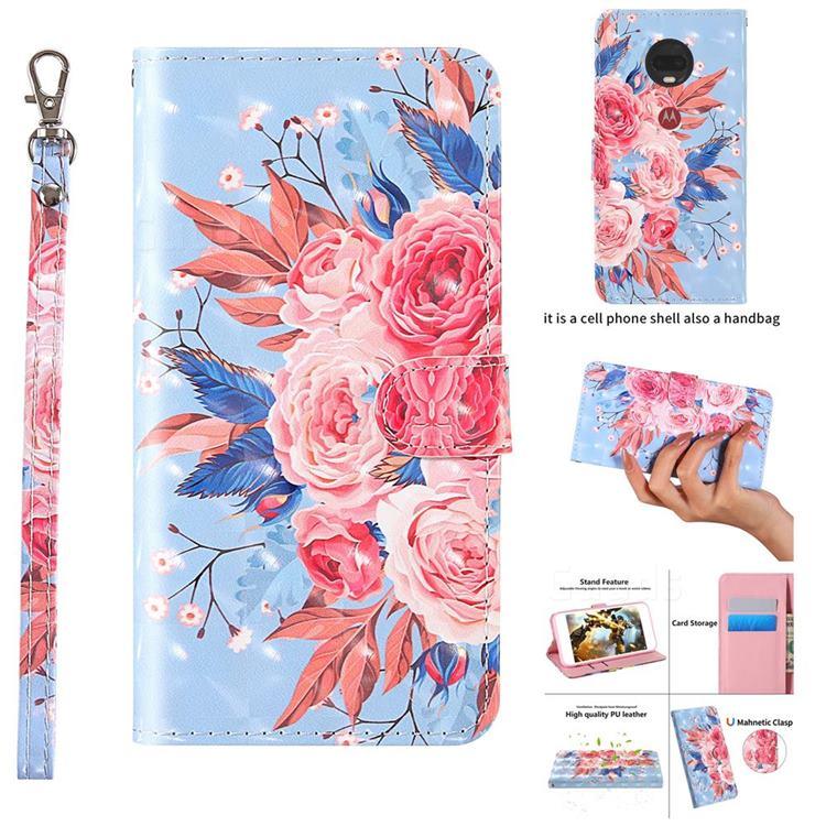 Rose Flower 3D Painted Leather Wallet Case for Motorola Moto G7 Power