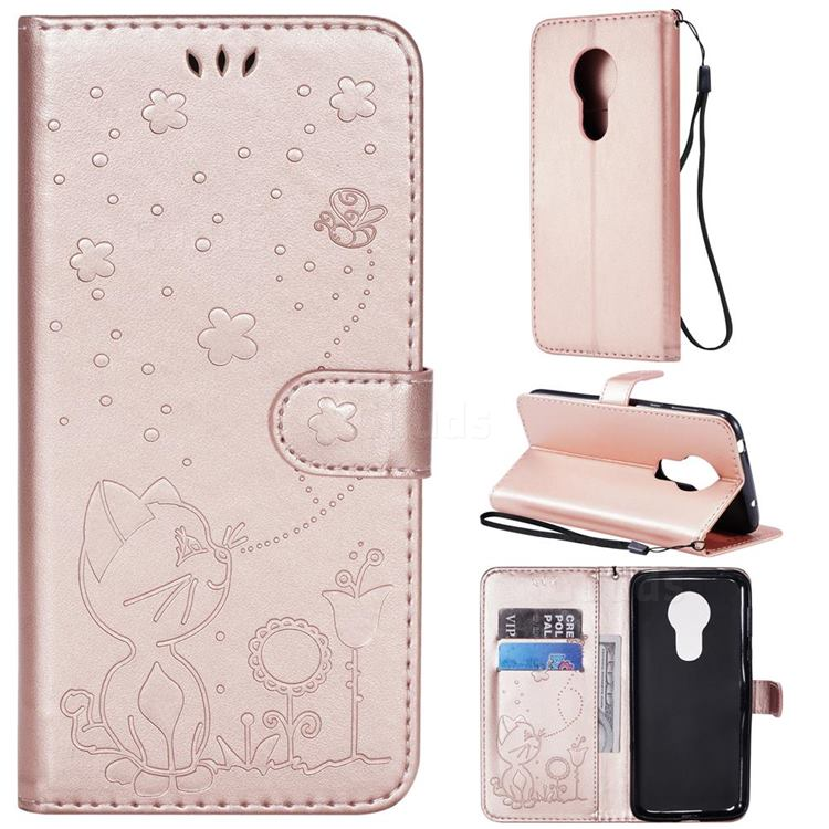 Embossing Bee and Cat Leather Wallet Case for Motorola Moto G7 Power - Rose Gold