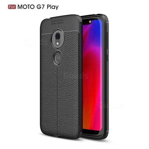 Luxury Auto Focus Litchi Texture Silicone TPU Back Cover for Motorola Moto G7 Play - Black