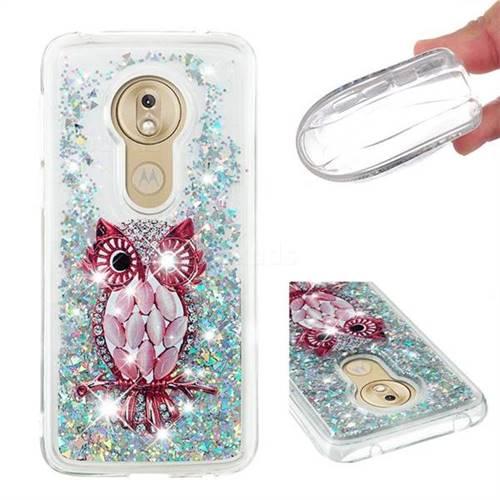 Seashell Owl Dynamic Liquid Glitter Quicksand Soft TPU Case for Motorola Moto G7 Play