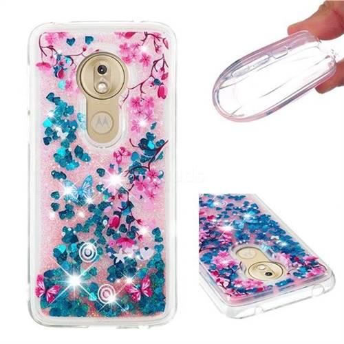 Blue Plum Blossom Dynamic Liquid Glitter Quicksand Soft TPU Case for Motorola Moto G7 Play