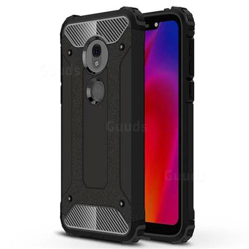 King Kong Armor Premium Shockproof Dual Layer Rugged Hard Cover for Motorola Moto G7 Play - Black Gold