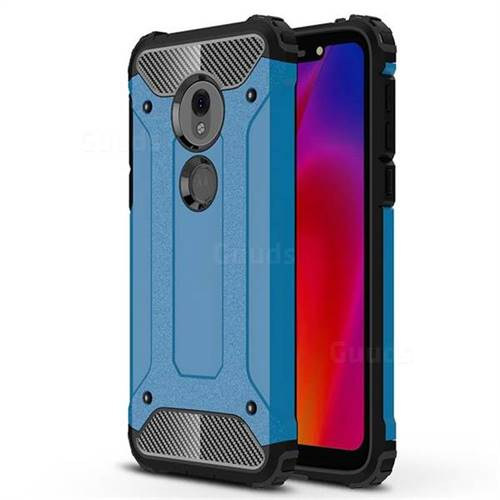 King Kong Armor Premium Shockproof Dual Layer Rugged Hard Cover for Motorola Moto G7 Play - Sky Blue