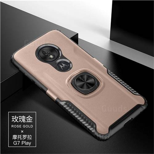 Knight Armor Anti Drop PC + Silicone Invisible Ring Holder Phone Cover for Motorola Moto G7 Play - Rose Gold