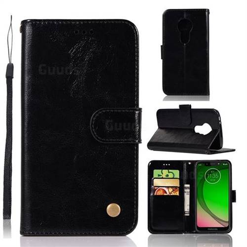 Luxury Retro Leather Wallet Case for Motorola Moto G7 Play - Black