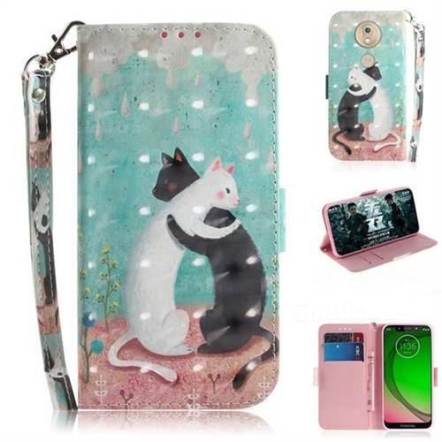 Black and White Cat 3D Painted Leather Wallet Phone Case for Motorola Moto G7 Play