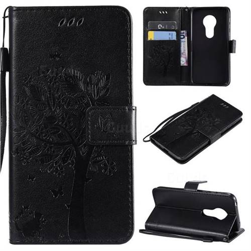 Embossing Butterfly Tree Leather Wallet Case for Motorola Moto G7 Play - Black