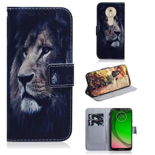 Lion Face PU Leather Wallet Case for Motorola Moto G7 Play