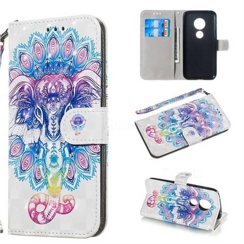 Colorful Elephant 3D Painted Leather Wallet Phone Case for Motorola Moto G7 Play